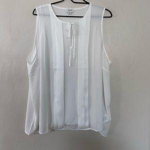 J Crew Factory White Sleeveless Pleated Blouse 3X